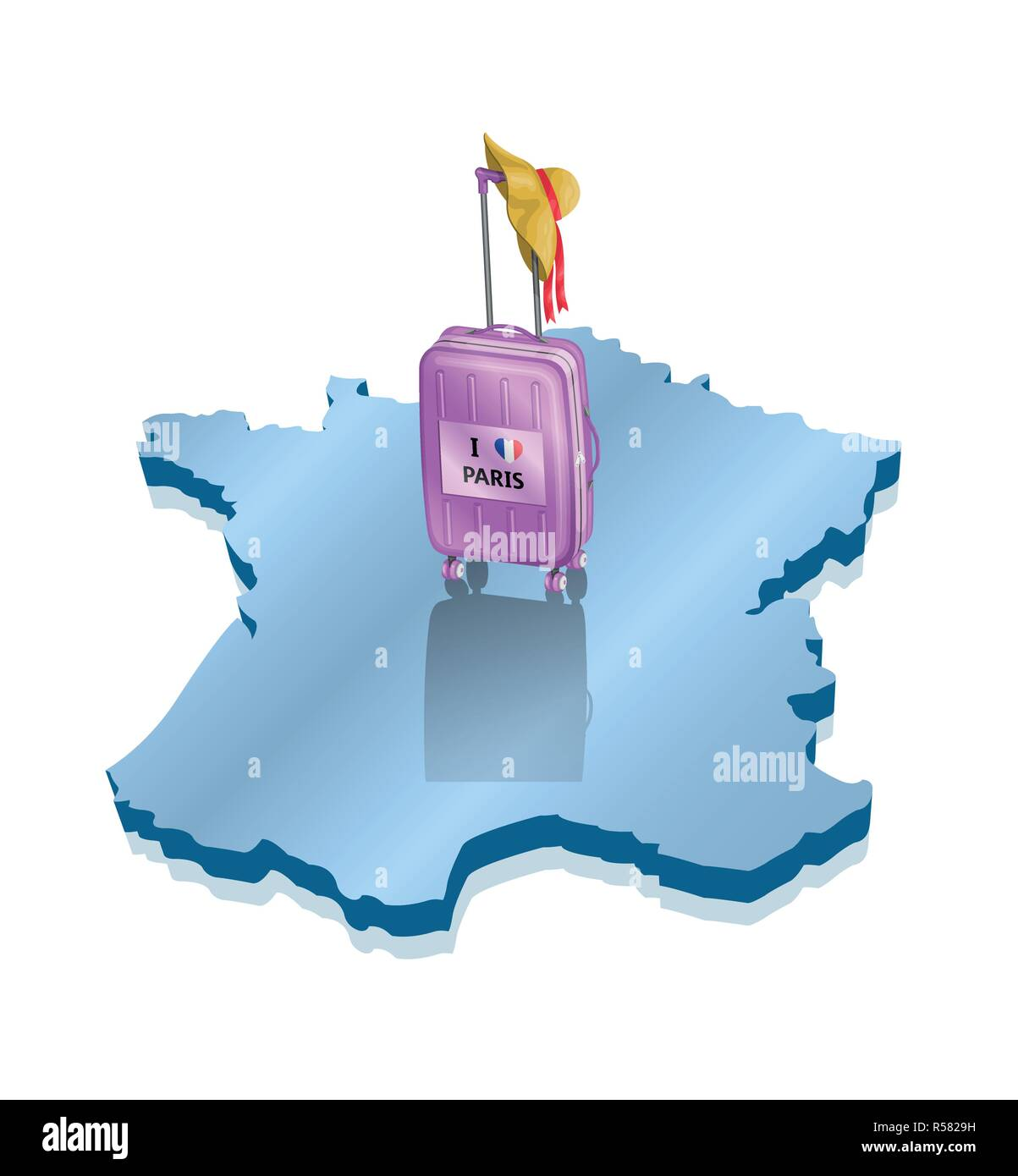 Travel to Paris France over a 3D map with beach hat and wheeled bag. All the objects are in different layers and the text types do not need any font. Stock Vector