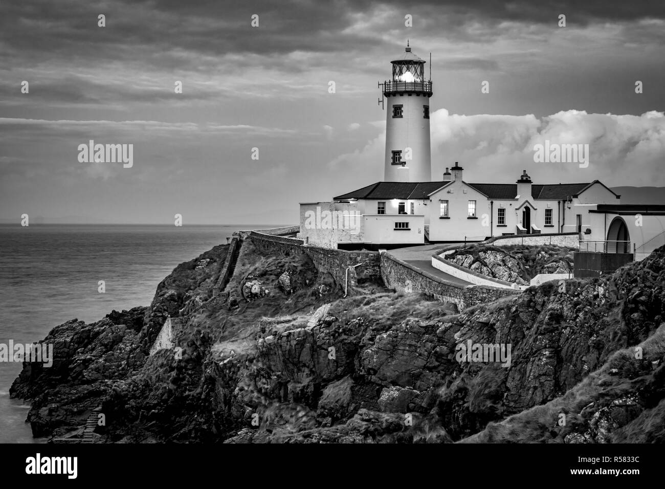 This is a picture of Fanad light house on the north coast of Donegal Ireland.  This was taken just before sunset - Stock Image