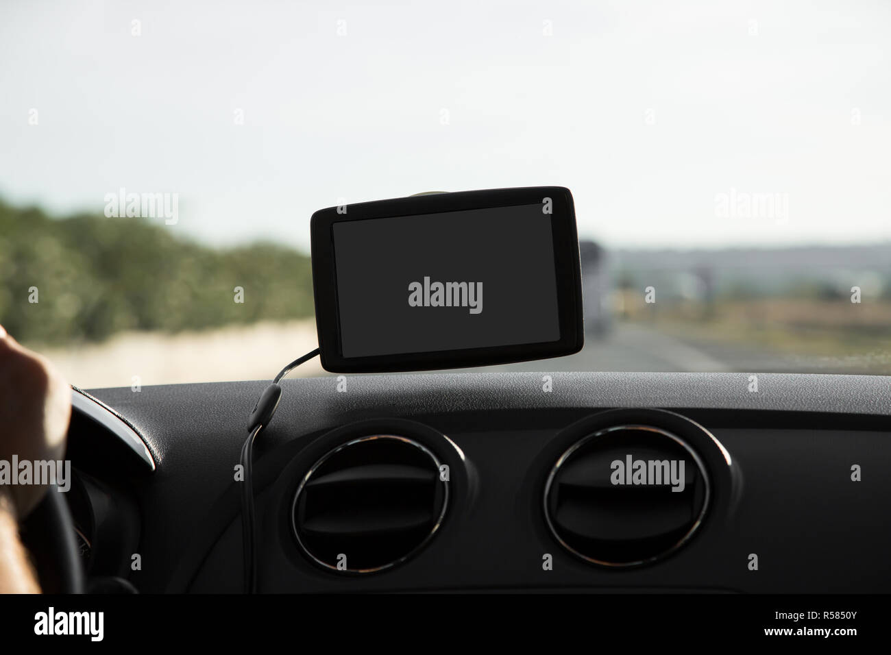 In the car with navigation device - Stock Image