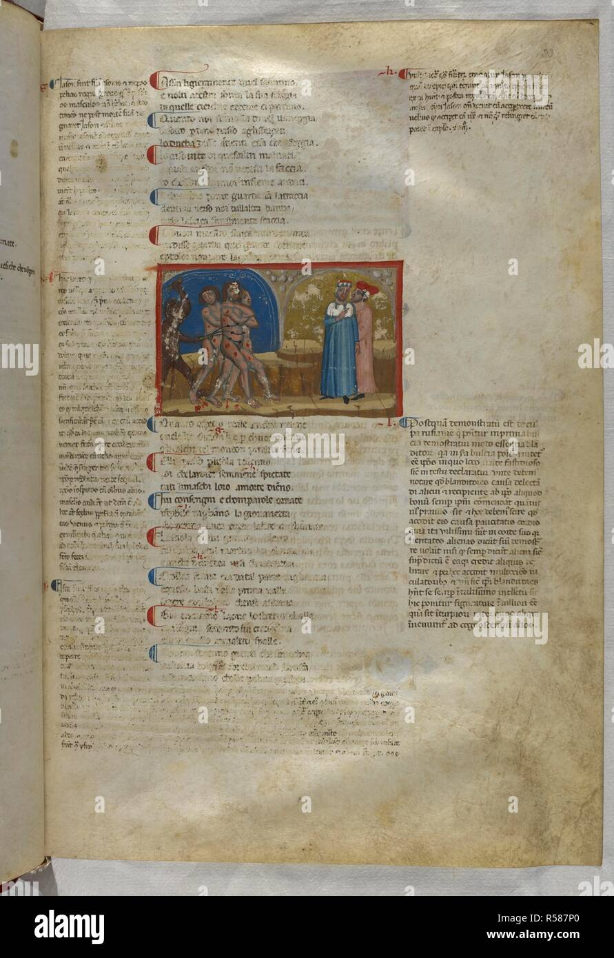 Inferno: Jason among the seducers. Dante Alighieri, Divina Commedia ( The Divine Comedy ), with a commentary in Latin. 1st half of the 14th century. Source: Egerton 943, f.33. Language: Italian, Latin. - Stock Image