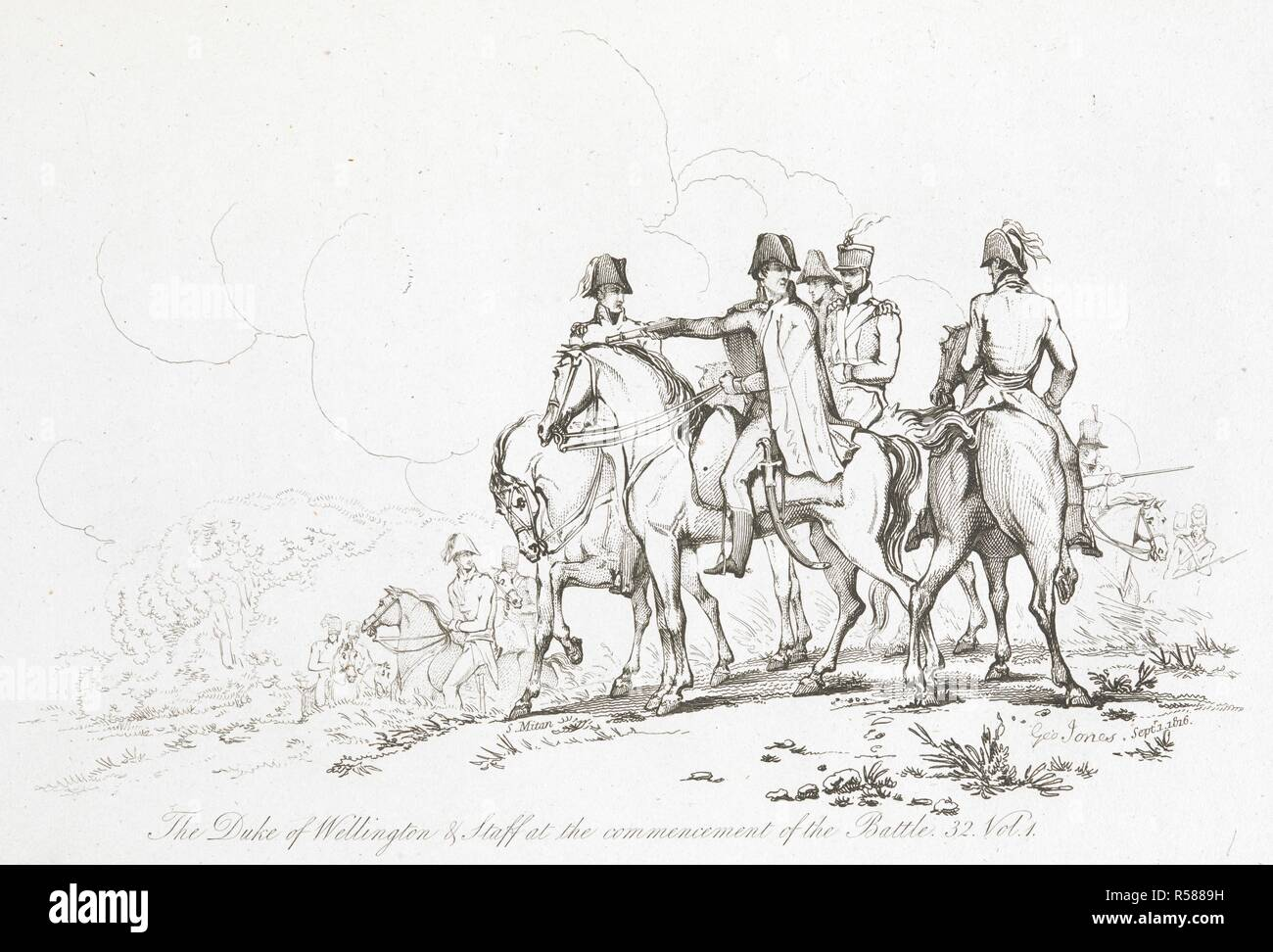 The Duke of Wellington and staff at commencement of the action on the 18th of June'. . The Battle of Waterloo, also of Ligny and Quatre-Bras described by ... a near observer ... [A narrative by C. A. Eaton, with a sketch by J. Waldie... from sketches by Captain G. Jones. 2 vol. John Booth; T. Egerton: London, 1817. Source: G.5651 volume 1, plate 11, opposite page 32. Author: Eaton, Charlotte Anne. Jones, Captain George. - Stock Image
