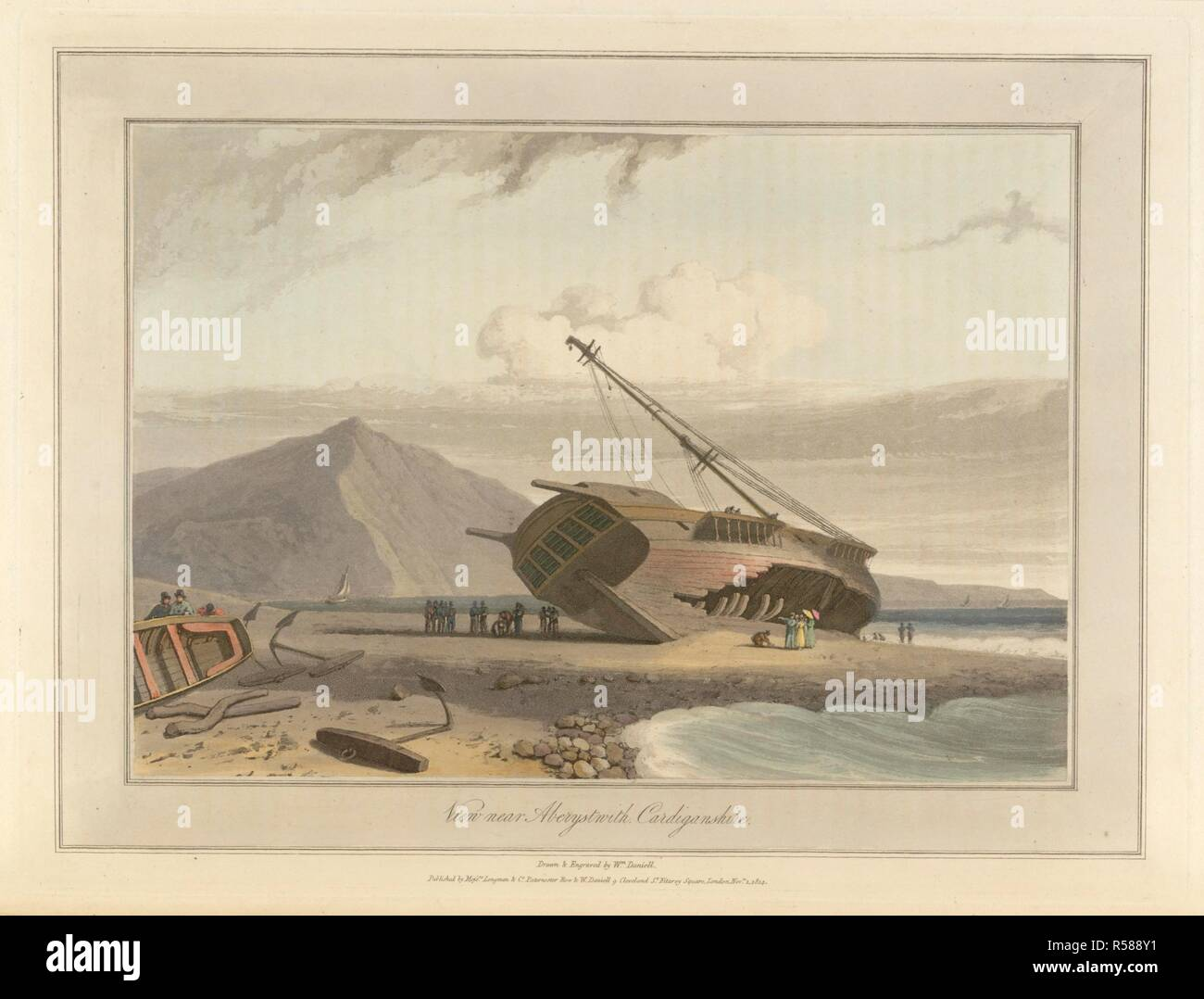 A shipwreck beached on shore near Aberystwyth in Cardiganshire. The coastline and landscape of Great Britain. Drawn and engraved by William Daniell. A Voyage Round Great Britain undertaken in the summer of the year 1813. London England. Source: G.7043 plate 20. Language: English. Author: DANIELL, WILLIAM. AYTON, RICHARD. - Stock Image