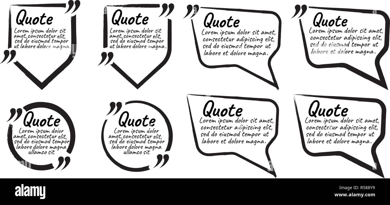 Set of Quote Blank with Text Icon and Label  Template for