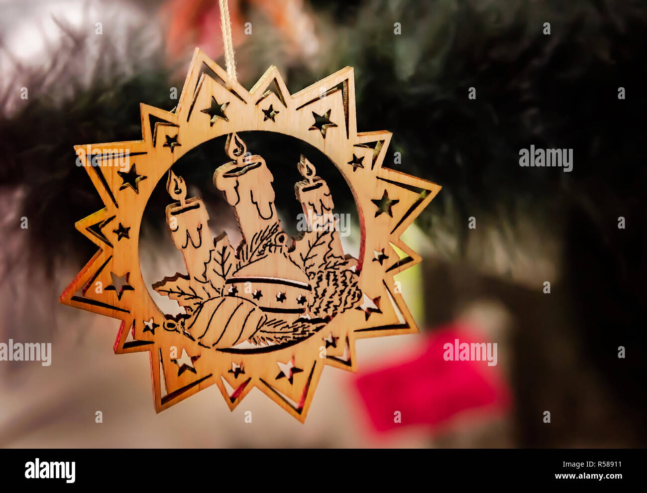 A wooden Christmas ornament from the Czech Republic is displayed at the 34th annual Mobile International Festival, Nov. 17, 2018, in Mobile, Alabama.  - Stock Image