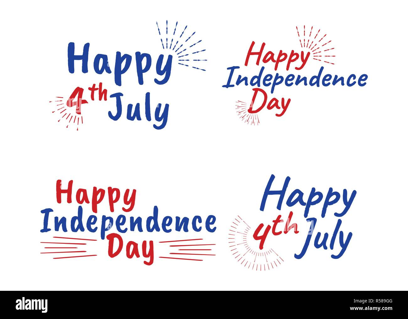 Happy 4 Th July And Independence Day Greeting Cards With Font