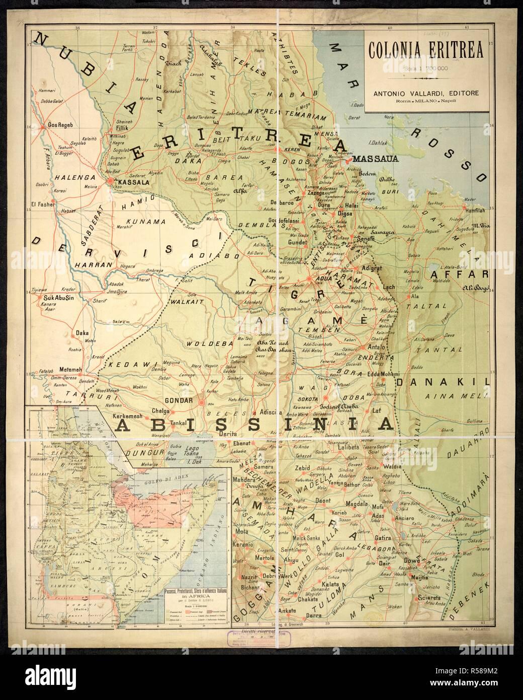 A map of Eritrea. Colonia Eritrea. Scala 1 : 700,000. Milano ... Scala Map on