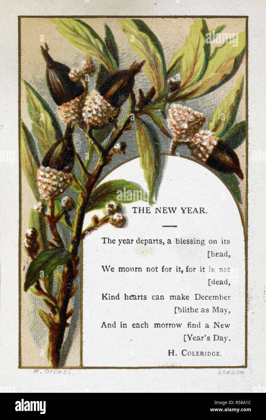new year greetings card with acorn decoration and poem by h coleridge gift