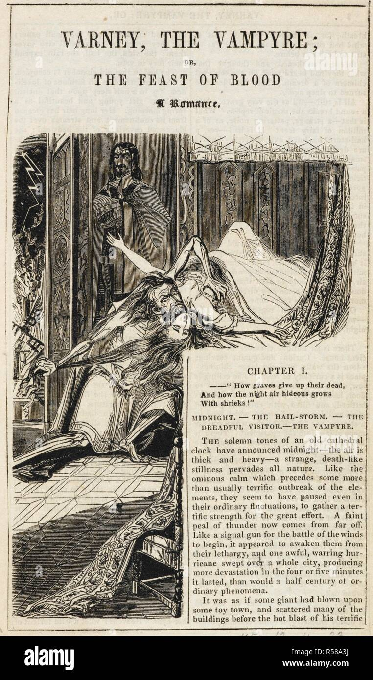 A vampire drinking the blood of his female victim, in her bedroom. Varney the Vampyre; or, the Feast of blood. A romance. London, 1845-47. Illustration. Source: C.193.a.26, page 1. Language: English. Author: Rymer, James Malcom. - Stock Image