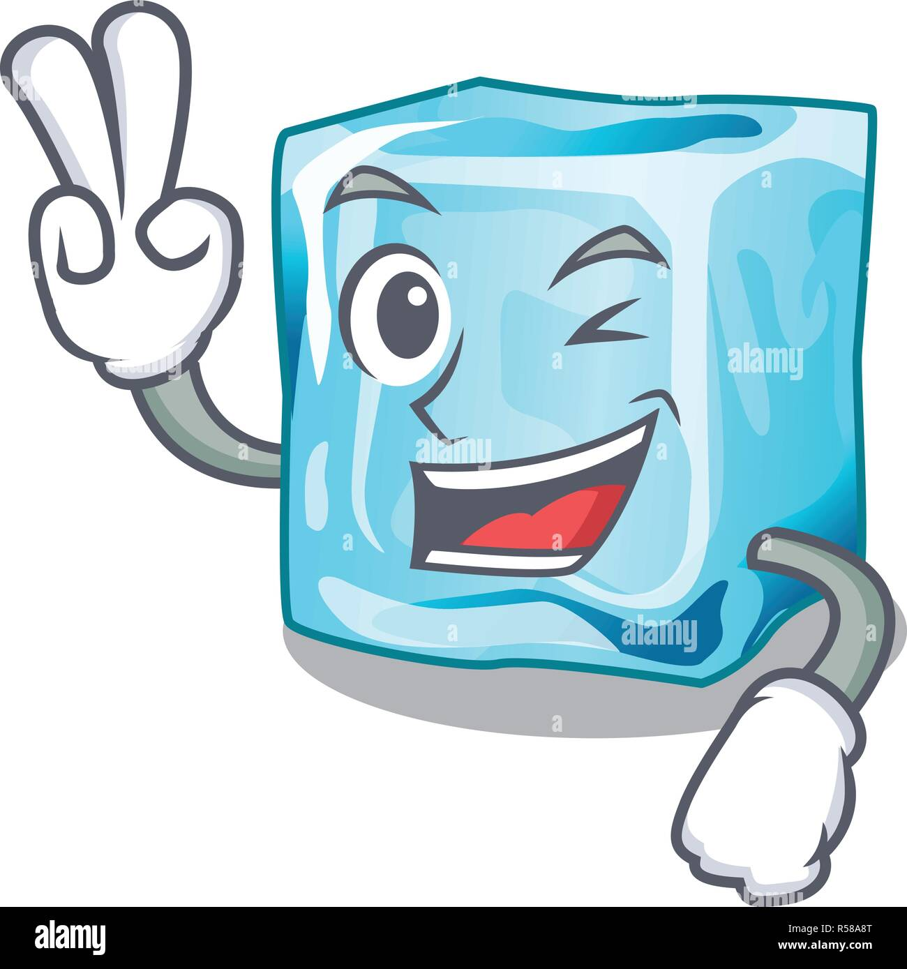 Two finger ice cubes wiht mascot on above - Stock Image