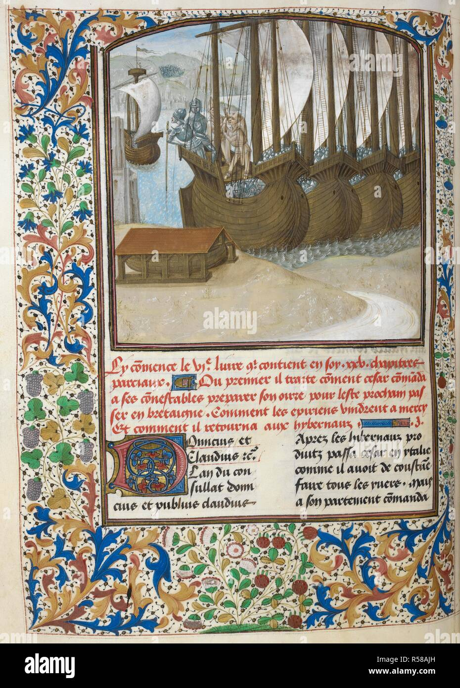 Caesar's fleet preparing for the conquest of Britain (Book 6). . Caesar, translated by Jan Du Quesne (or Jean Duchesne), Bellum Gallicum ( Les commentaires de Cesar ). 1473-1476. Source: Royal 16 G. VIII f.164v. Author: JULIUS CAESAR. Du Quesne, Jehan. - Stock Image