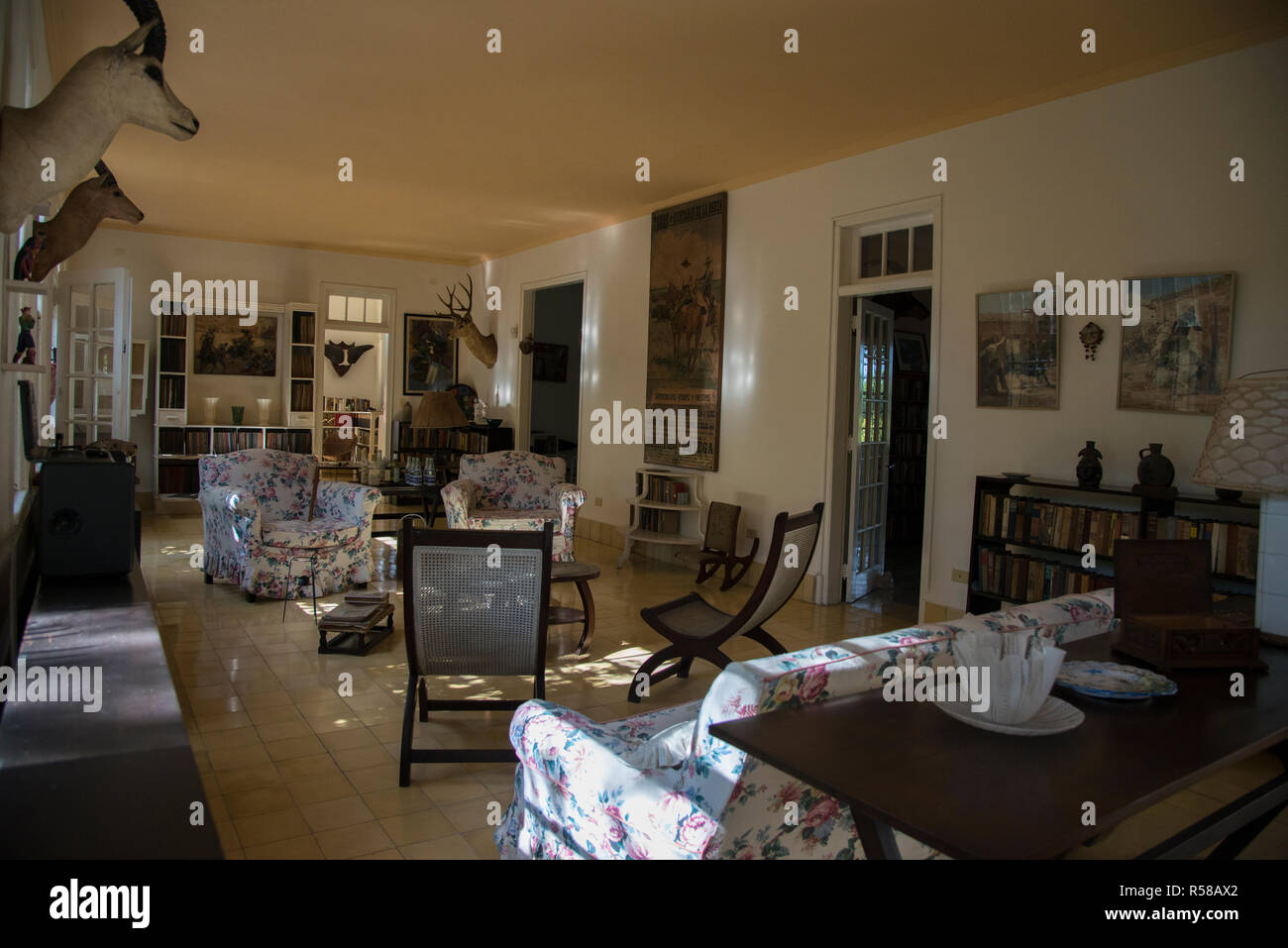 Ernest Hemingway main livingroom. Stock Photo