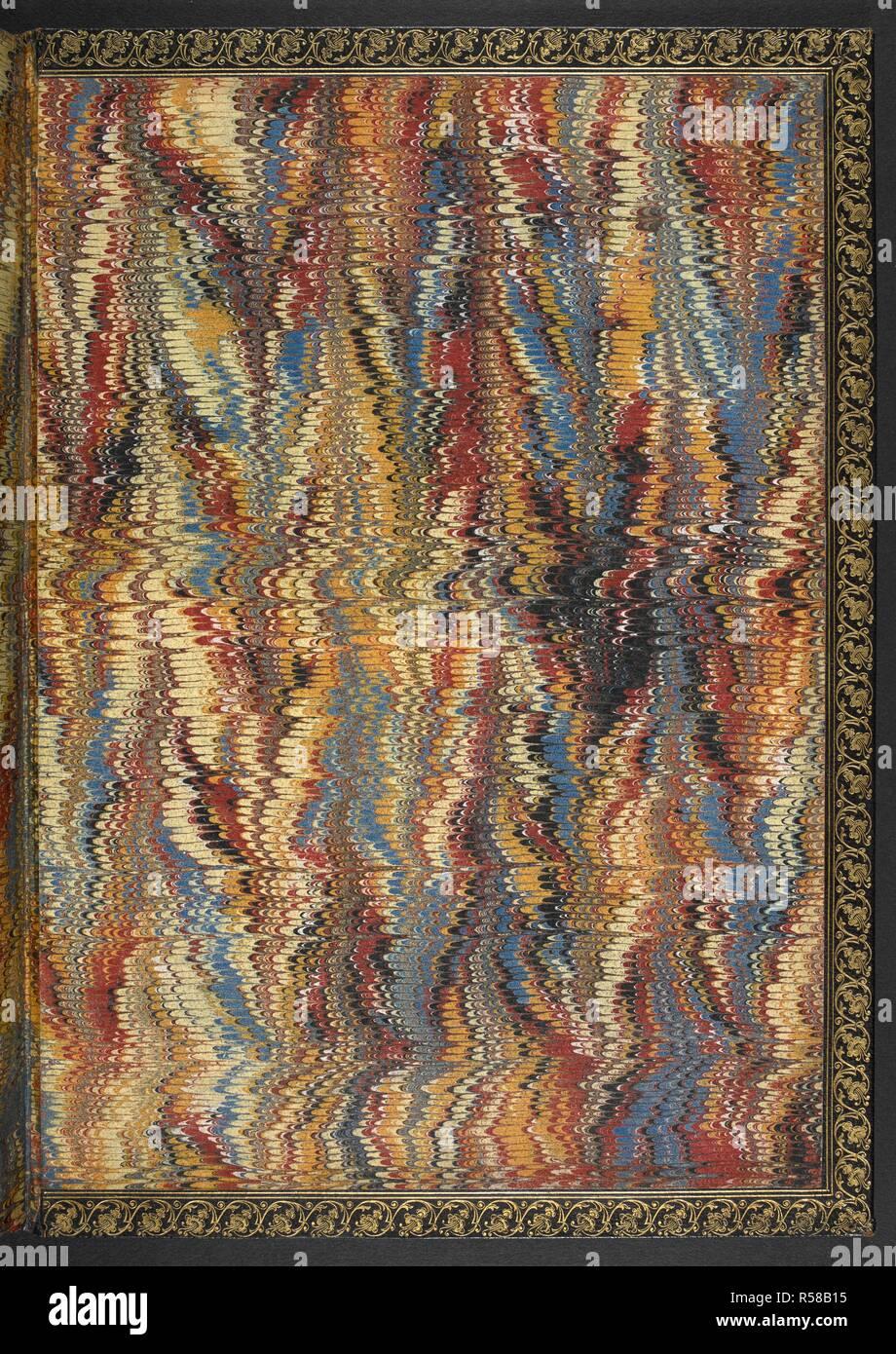 Coloured endpaper. Begin. Die sungen das salue das vor auf erden nie gehort was vnd vnser fraw herauss aufain seyten, die ander wider ein, wehet die krancken mit dem erml' die woden gesundt ... crv. regenspurck : lienhart, [1465?]. Source: IB.1. - Stock Image