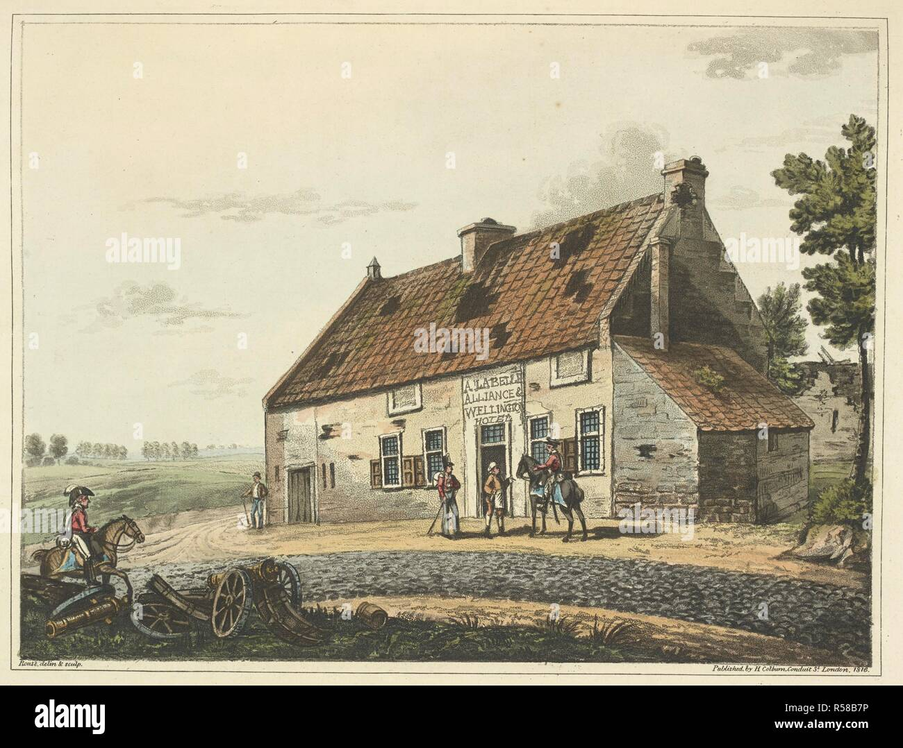 A view of La Belle Alliance. On the morning of June 18, 1815 the inn became Napoleon Bonaparte's headquarters for the Battle of Waterloo. After the battle, the Duke of Wellington and Gebhard Blücher met close to the inn signifying the end of the fighting. An Historical Account of the Campaign in the Netherlands, in 1815, under His Grace the Duke of Wellington, and Marshal Prince Blucher, comprising the battles of Ligny, Quatrebras, and Waterloo; with a detailed narrative of the political events connected with those memorable conflicts down to the surrender of Paris, and the departure of Bonap - Stock Image
