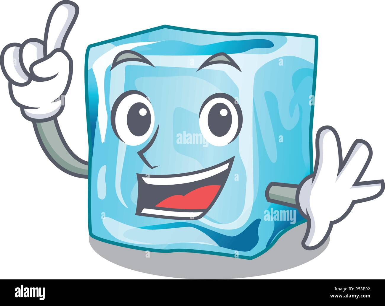 Finger ice cubes on the cartoon funny - Stock Image