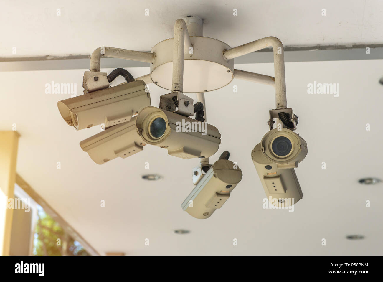 Security CCTV camera and urban video, electronic device - Stock Image