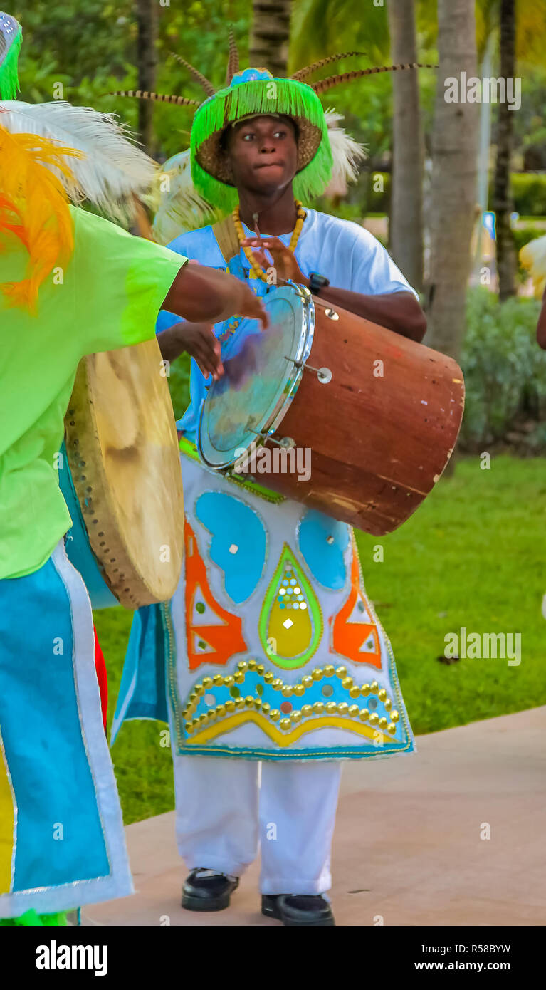 Freeport Bahamas - September 22, 2011: Male dancers dressed in traditional costumes performing at a Junkanoo festival in Freeport, Bahamas - Stock Image