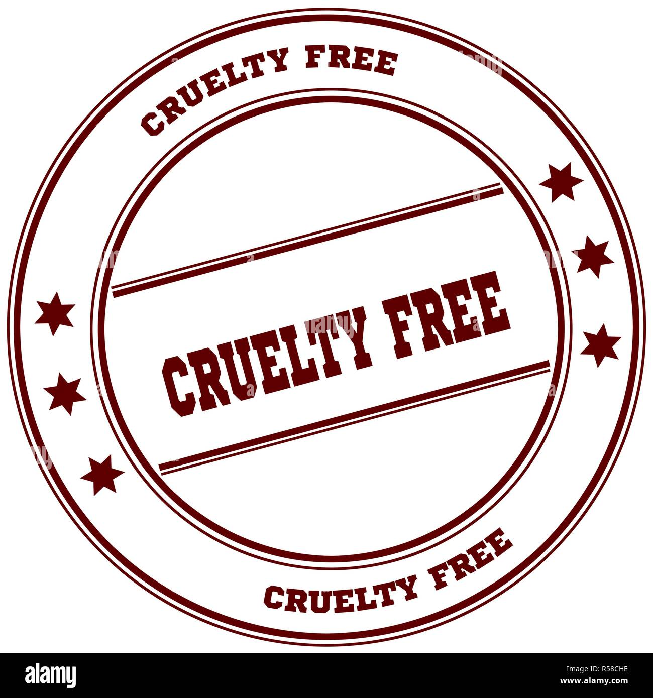 CRUELTY FREE simple red stamp Stock Photo