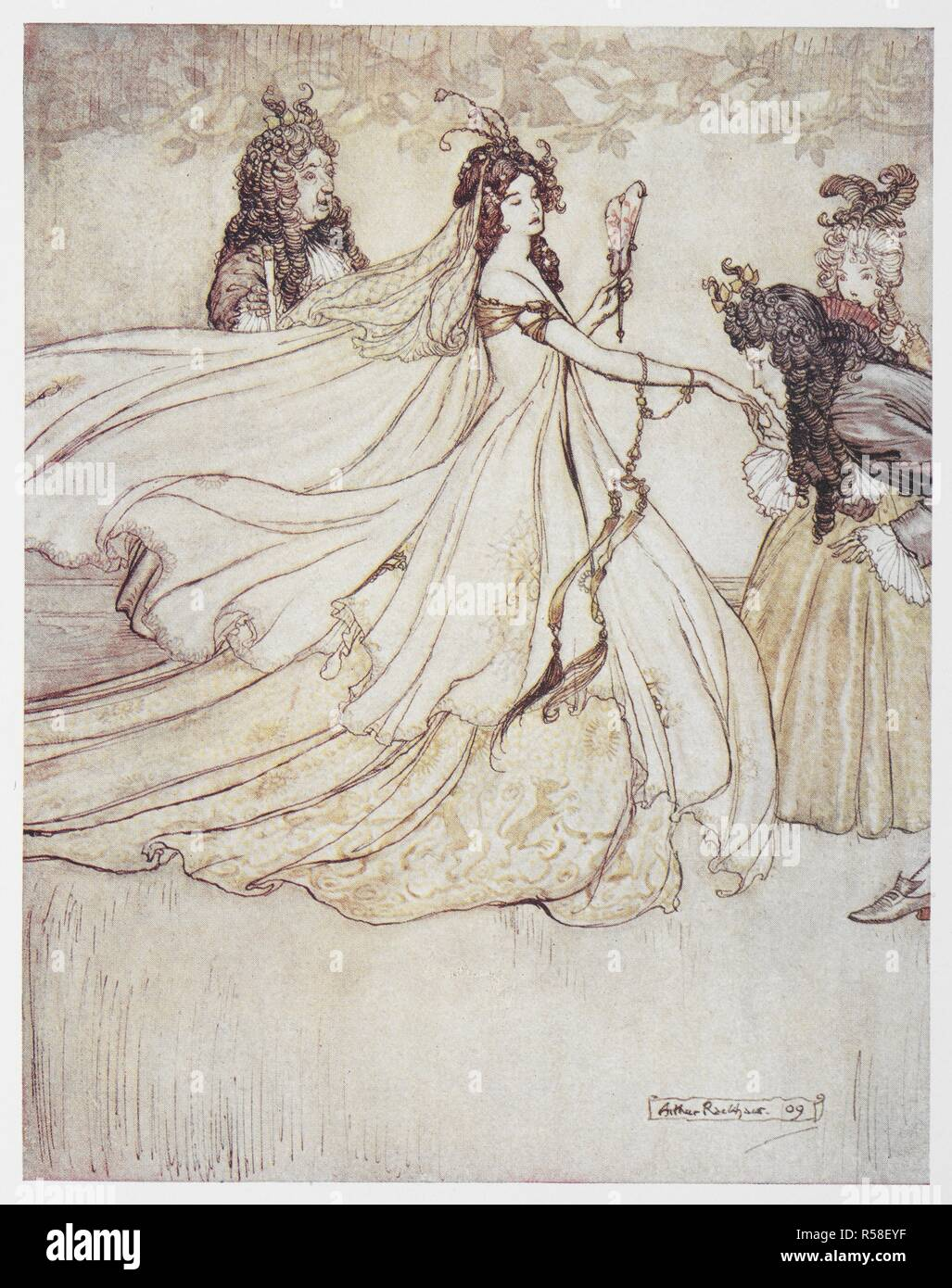 Cinderella (Ashenputtel) in a ball gown. Grimm's Fairy Tales. Illustrated by Arthur Rackham. London : William Heinemann, [1925]. 'Ashenputtel goes to the ball.'. Source: 12410.r.7. facing page 192. Author: RACKHAM, ARTHUR. GEBRUEDER GRIMM. Stock Photo