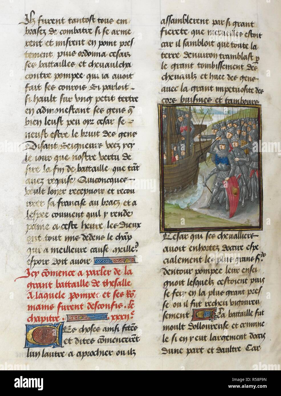The battle of Pharsalus (Book 10, 32). Caesar, translated by Jan Du Quesne (or Jean Duchesne), Bellum Gallicum ( Les commentaires de Cesar ). 1473-1476. Source: Royal 16 G.VIII, f.304v. Author: JULIUS CAESAR. Du Quesne, Jehan. Circle of the Master of the London Wavrin. - Stock Image