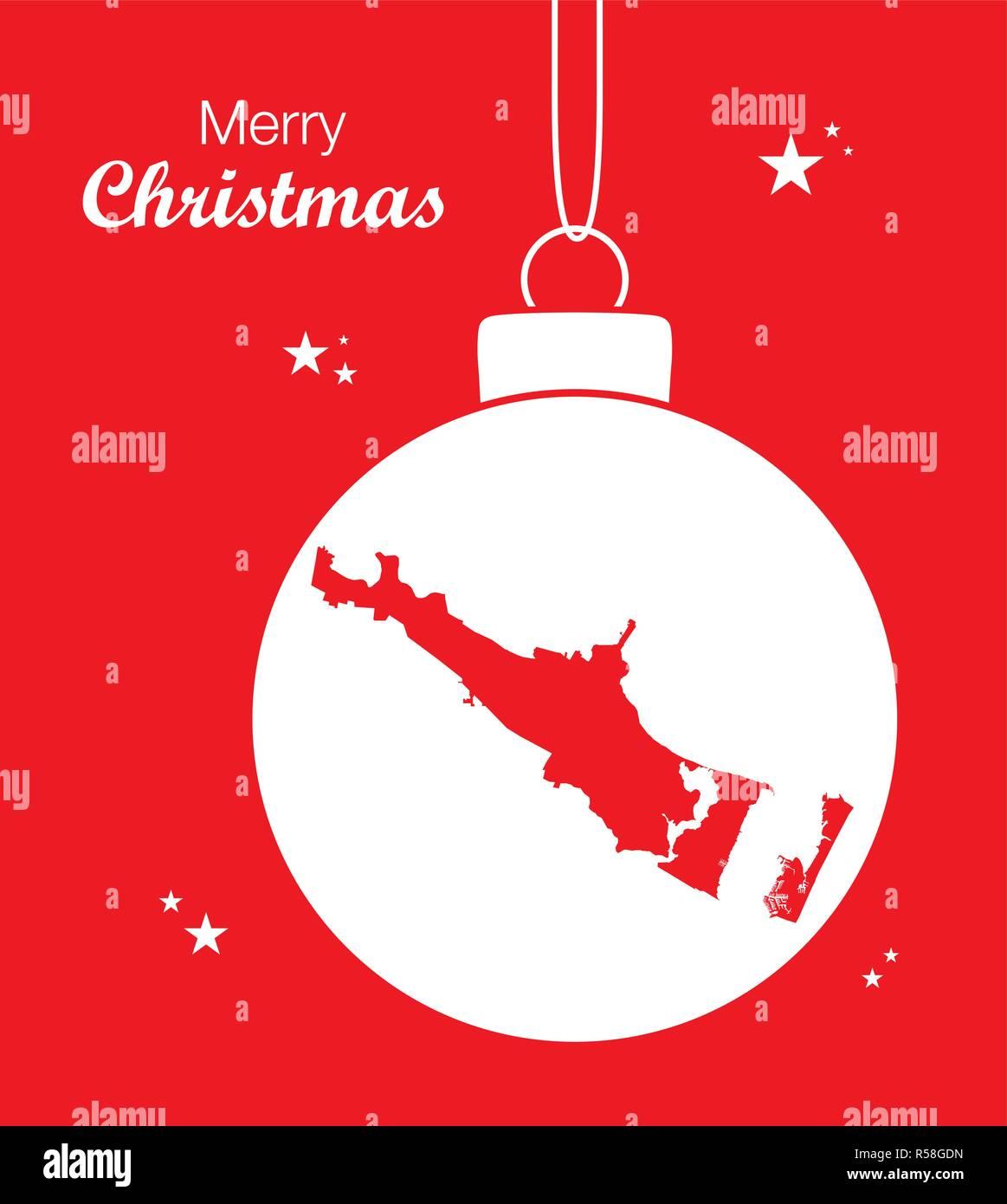 Merry Christmas illustration theme with map of Corpus Christi Texas - Stock Vector
