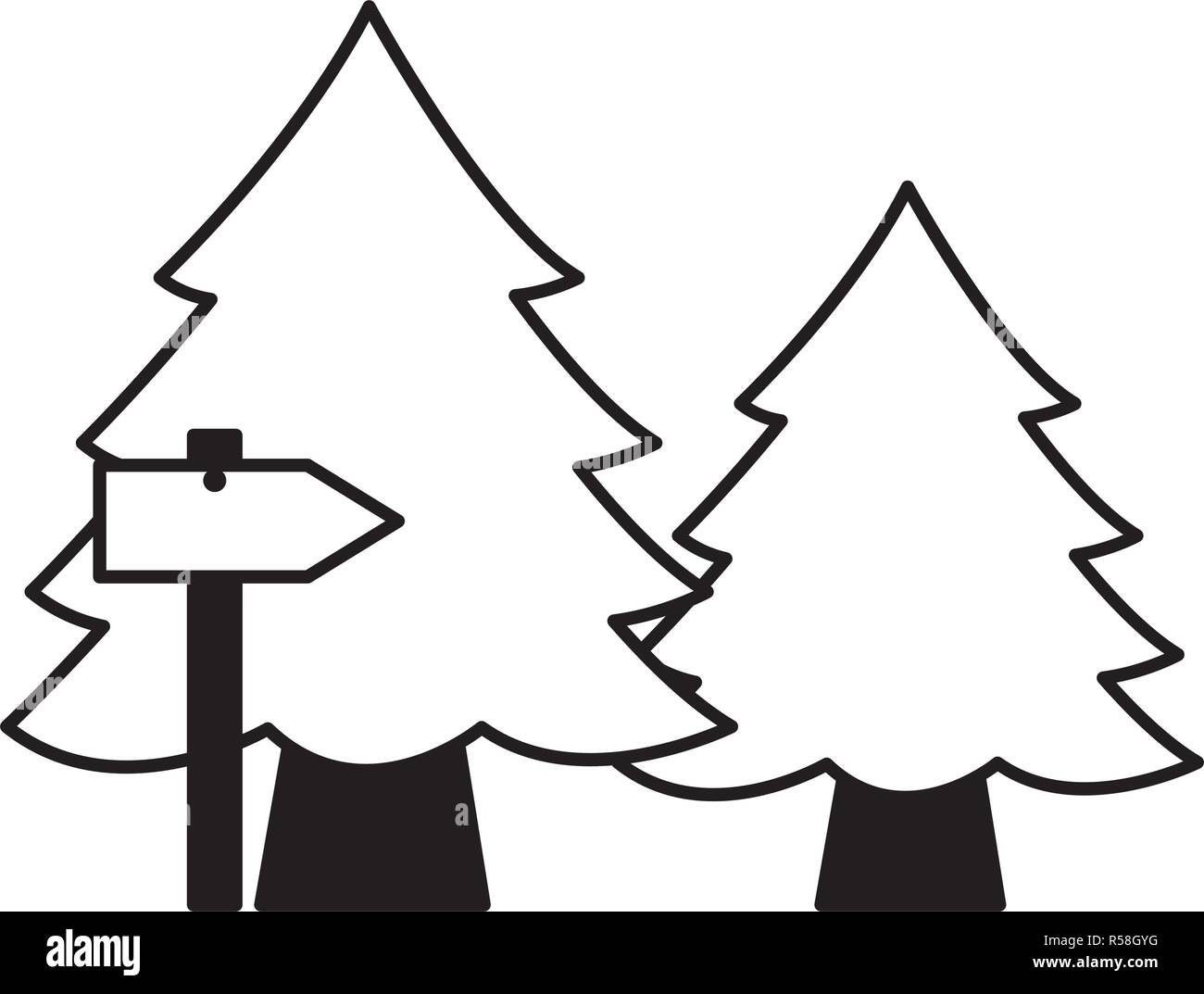 pine trees and guide arrow camping summer vector illustration - Stock Image