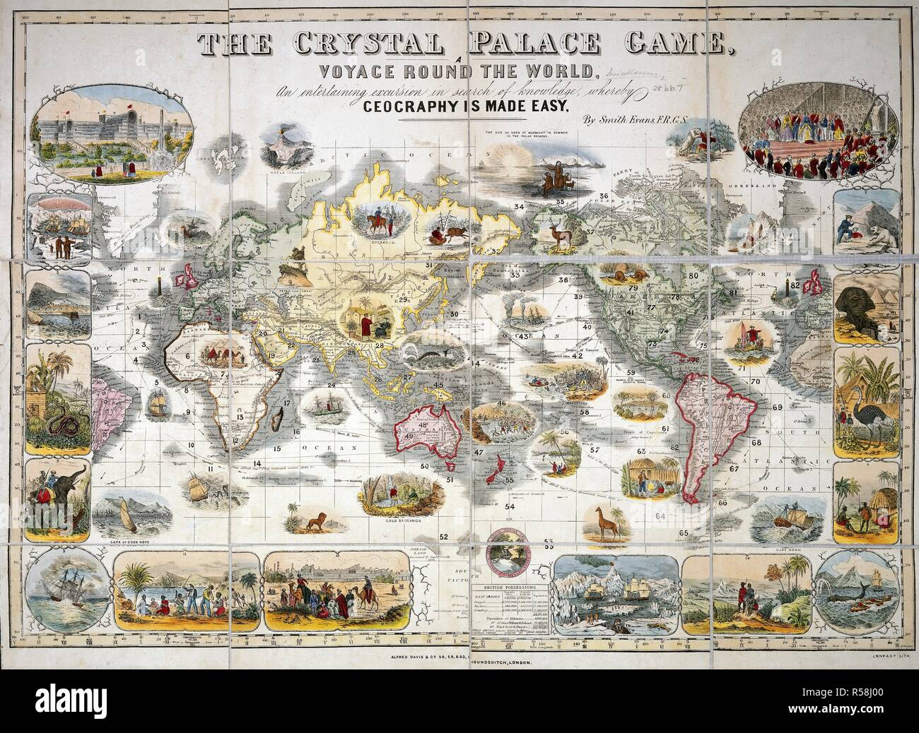 A pictorial map of the world illustrating different cultures