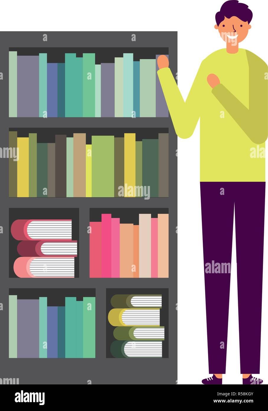 Bookshelf With Books Cartoon