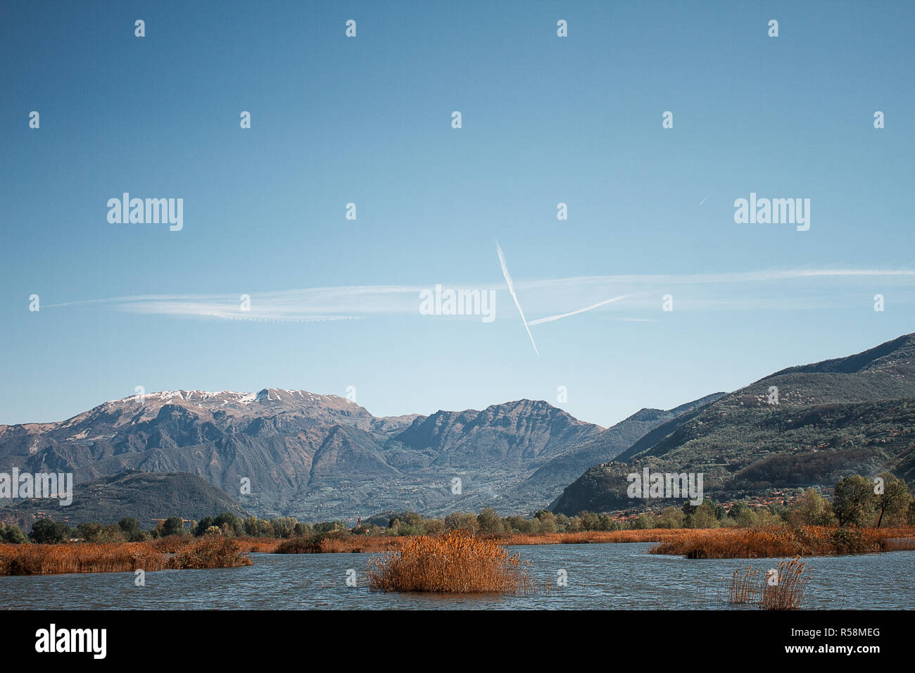 Landscape of Torbiere del Sebino Natural Reserve in Lombardy. Iseo Lake. Travel destination in Italy - Stock Image