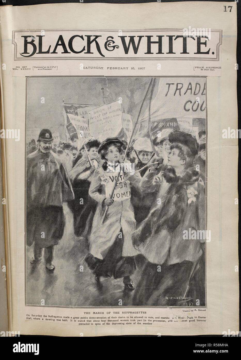 Front cover of 'Black & White.' The march of the suffragettes. . [A collection of press cuttings, pamphlets, leaflets and letters mainly relating to the movement for women's suffrage in England, formed and annotated by M. Arncliffe Sennett.]. London, 1907. Source: C.121.g.1 vol.XXXIII n.887, February 16, 1907. - Stock Image