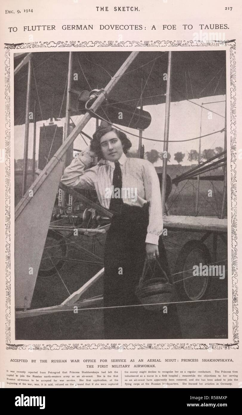 Princess Shakhovskaya'.  Eugenie Mikhailovna Shakhovskaya (St. Petersburg, 1889 – Kiev, 1920) was a Russian pioneering aviator. She was the first woman to become a military pilot when she flew reconnaissance missions for the Czar in 1914. The Sketch. London, 1914. Source: The Sketch, December 9th, 1914, page 217. - Stock Image