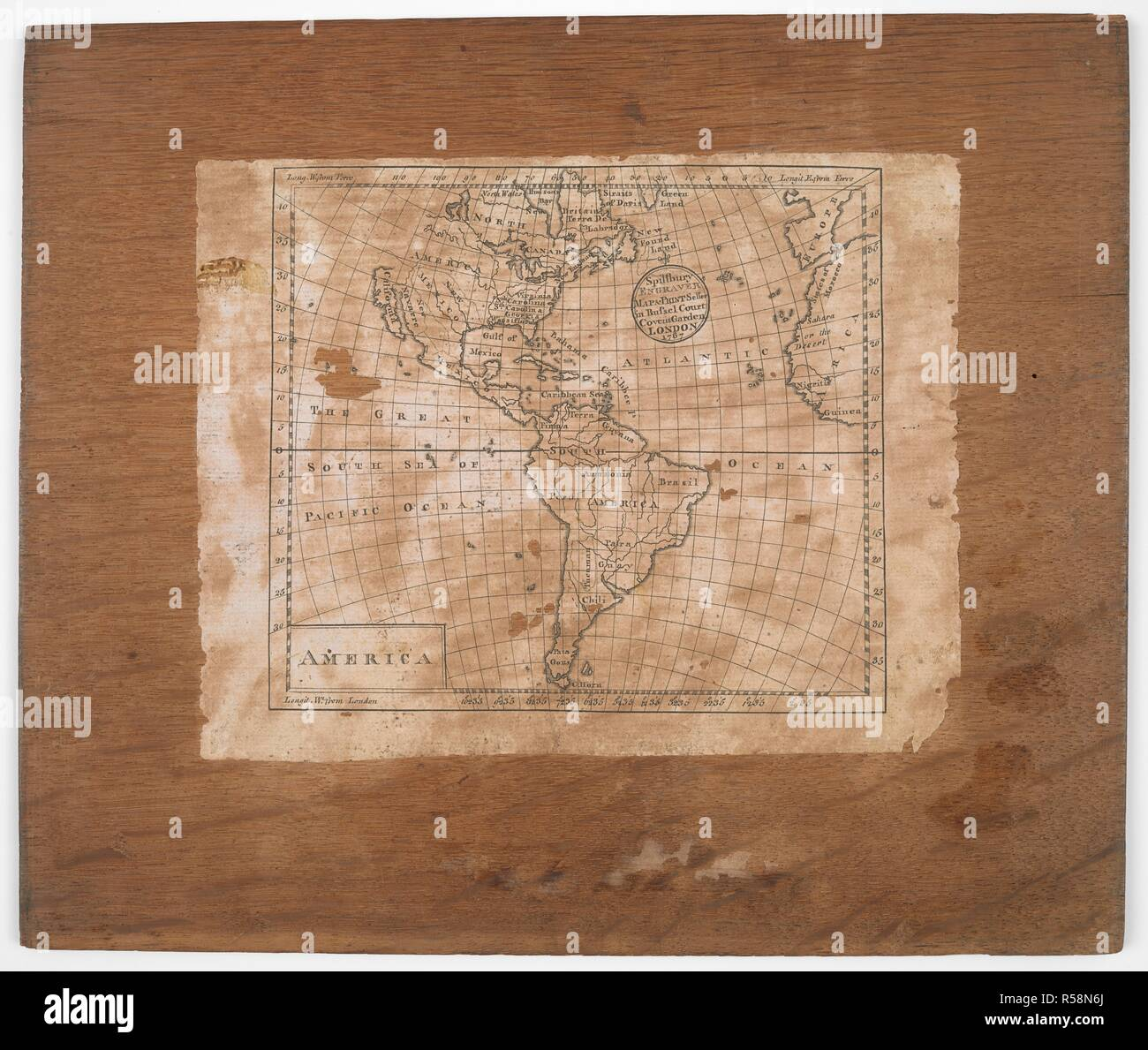 Map Of America Jigsaw.Map On The Lid Of A Box Containing A Jigsaw Puzzle North And South