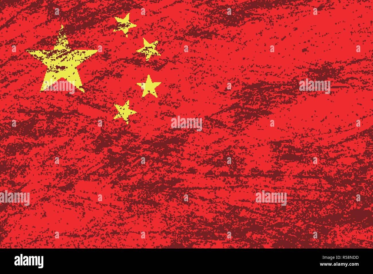 Vector grunge China flag background - Stock Vector