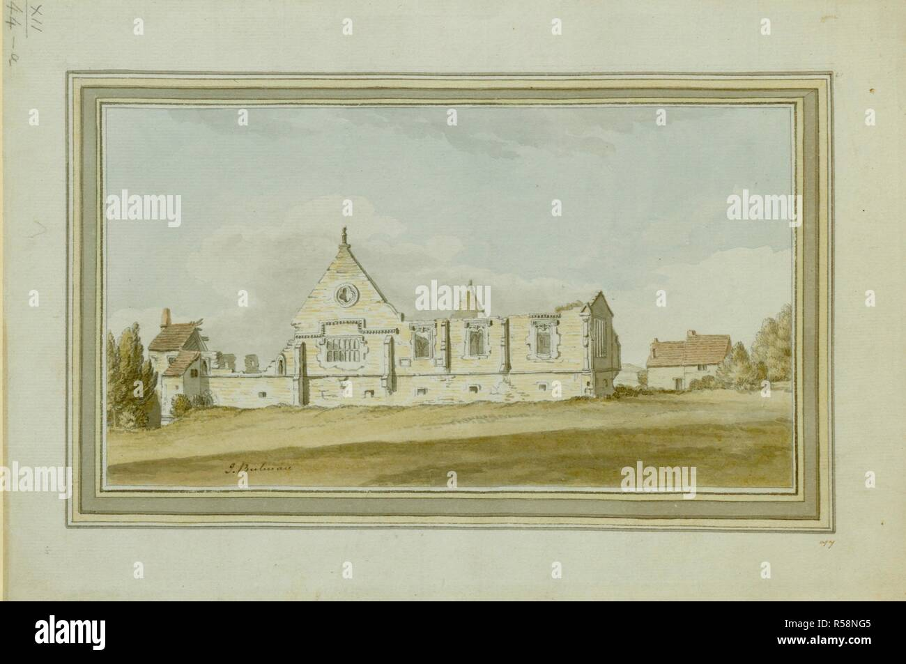 The gothic ruins of the Prior's House and chapel of Beaurepaire or Bear Park, built by Prior Bertram (1244-58), later destroyed by the Scots and rebuilt, c.1346, by Prior Fosser. South View of Bearpark near Durham 1783. 1783. Source: Maps K.Top.12.44.a. Language: English. Stock Photo