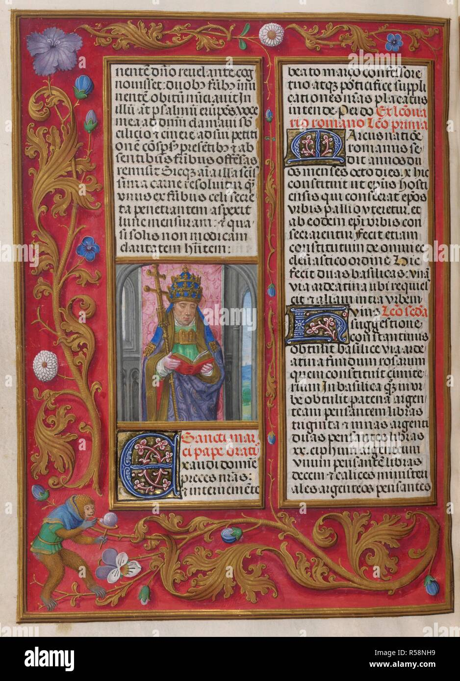 Sanctorale. St Pope Marcus. Isabella Breviary. Breviary, Use of the Dominicans ('The Breviary of Queen Isabella of Castile'). c1497. Source: Add. 18851 f.470v. Author: Master of James IV of Scotland. - Stock Image
