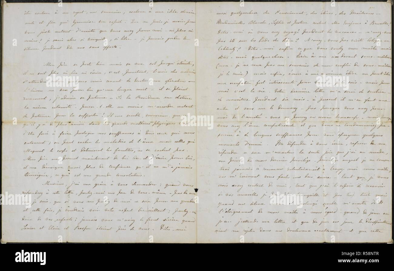 """Letter from Charlotte Brontë to Professor Constantin Heger 18 November 1844. . FOUR LETTERS Of Charlotte Brontë to Prof. Constantin Heger [the original of Paul Emanuel in """"Villette""""] ; 24 July, 1844 - 18 Nov. [1845?]. French. That of 18 Nov. has a postscript in English. Described, published, and translated by Marion H. Spielmann in The Times, 29 July, 1913 (see also the issues of 30 and 31 July). The letters, three of which had been torn up, are preserved separately between glass plates. 24 Jul 1844-18 Nov [1845?]. Source: Add.38732 Cv. Stock Photo"""