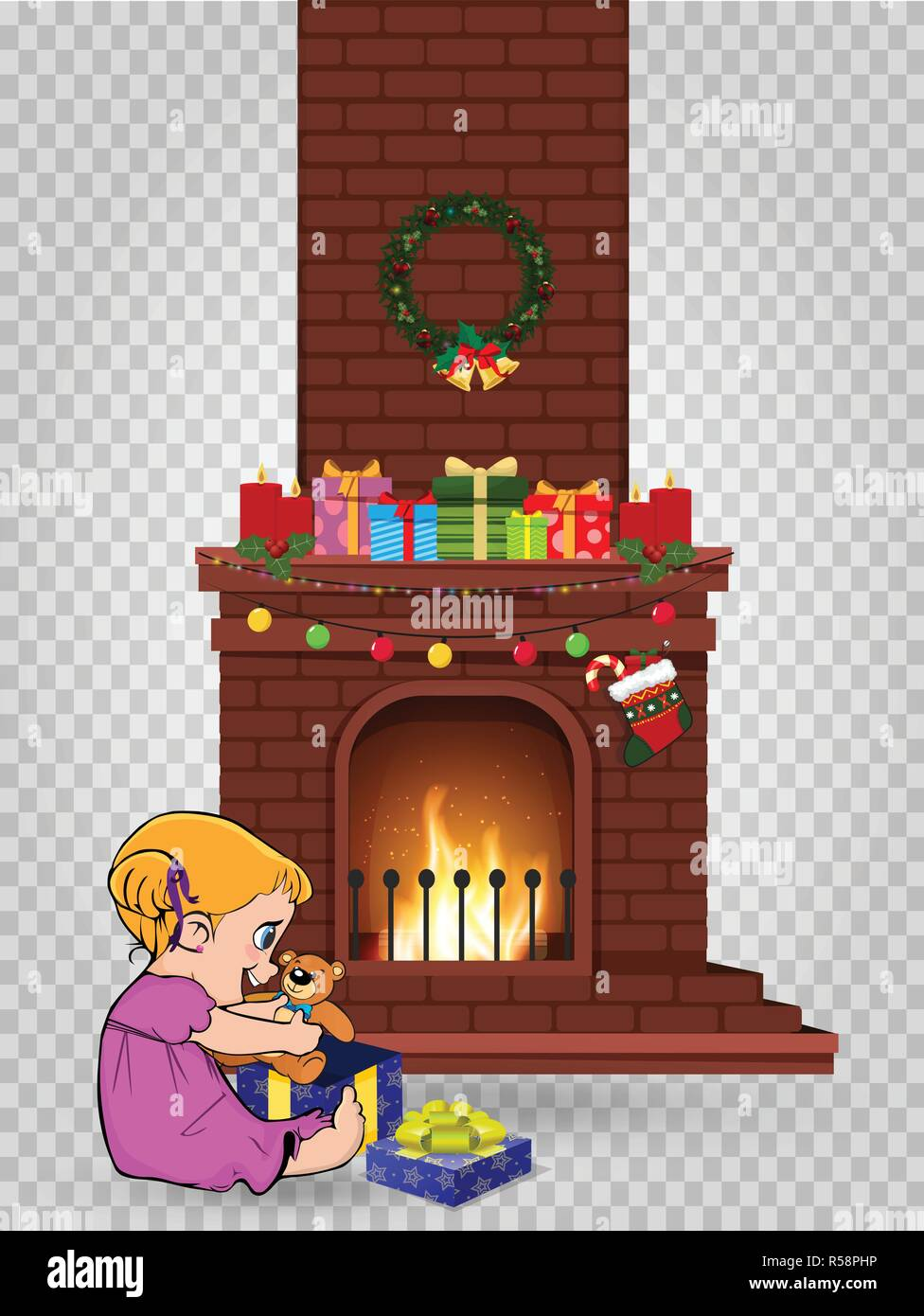 Cute little kawaii baby girl character open gift sitting near decorated christmas fire place with many presents isolated on transparent background. Ve - Stock Vector