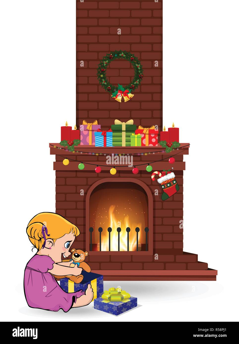 Cute little kawaii baby girl character open gift sitting near decorated christmas fire place with many presents isolated on white background. Vector c - Stock Vector