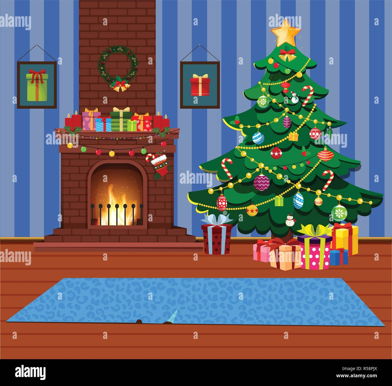 Cartoon home indor cozy comfort interior of decorated room with burning fire place and fir xmas tree with many gifts and presents. Vector christmas or - Stock Vector