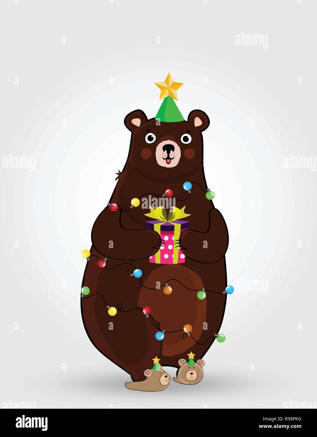 Image of: Narwhal Vector Illustration Of Cute Cartoon Bear Character In Funny Hat And Garland Lights Holding Festive Gift Box Isolated On White Background Christmas Alamy Vector Illustration Of Cute Cartoon Bear Character In Funny Hat And