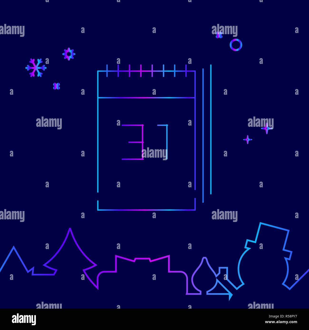 new years calendar vector line icon symbol pictogram sign on a dark blue background related bottom border