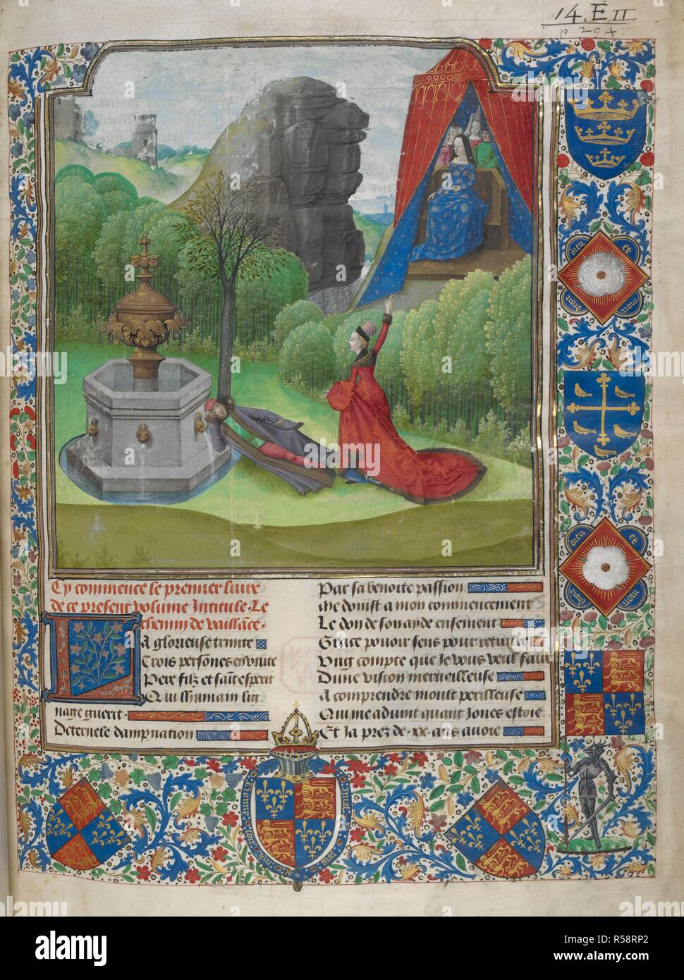 Miniature of Nature appearing to the author, Jean de Courcy, in a dream and showing him the lady Vaillance, at the beginning of book 1. A full border containing the royal arms of England on a banner held by a knight and on a shield encircled by the Garter with the motto 'Honny soit qui mal y pense', and surmounted by a crowned helm with mantling in Edward's colours of red and blue. Two shields with the same arms differenced, for the king's two sons; lozenges bearing a white rose of the York family with the Yorkist badge, 'Dieu et mon droit', a shield with the arms of Edmund (three crowns) and  - Stock Image