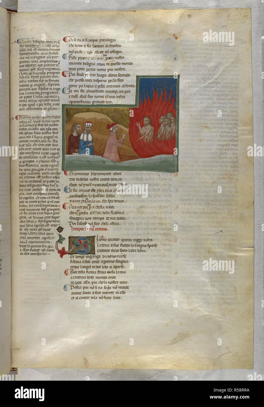 Dante, talking to one of the lustful, is followed by Statius and Virgil. Dante Alighieri, Divina Commedia ( The Divine Comedy ), with a commentary in Latin. 1st half of the 14th century. Source: Egerton 943, f.111. Language: Italian, Latin. - Stock Image