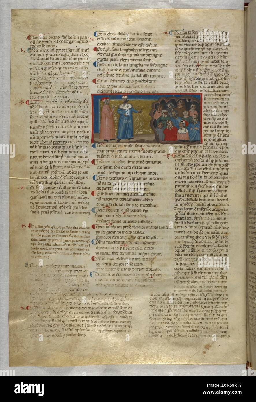 Inferno: Dante and Virgil meet the unbaptised souls. Dante Alighieri, Divina Commedia ( The Divine Comedy ), with a commentary in Latin. 1st half of the 14th century. Source: Egerton 943, f.8v. Language: Italian, Latin. - Stock Image