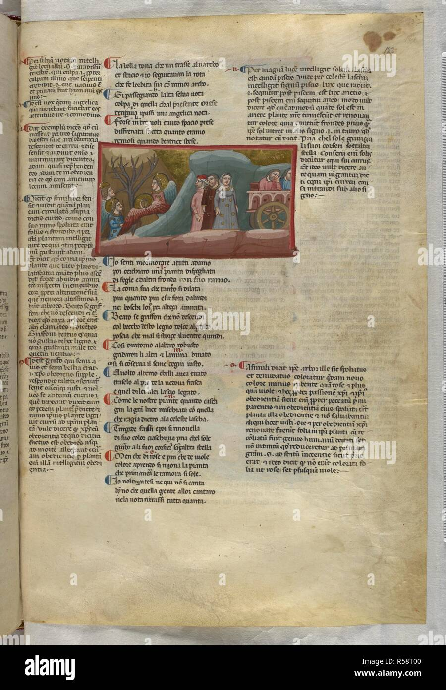 Purgatorio: Angels dance around the Tree of Knowledge. Dante Alighieri, Divina Commedia ( The Divine Comedy ), with a commentary in Latin. 1st half of the 14th century. Source: Egerton 943, f.122. Language: Italian, Latin. - Stock Image