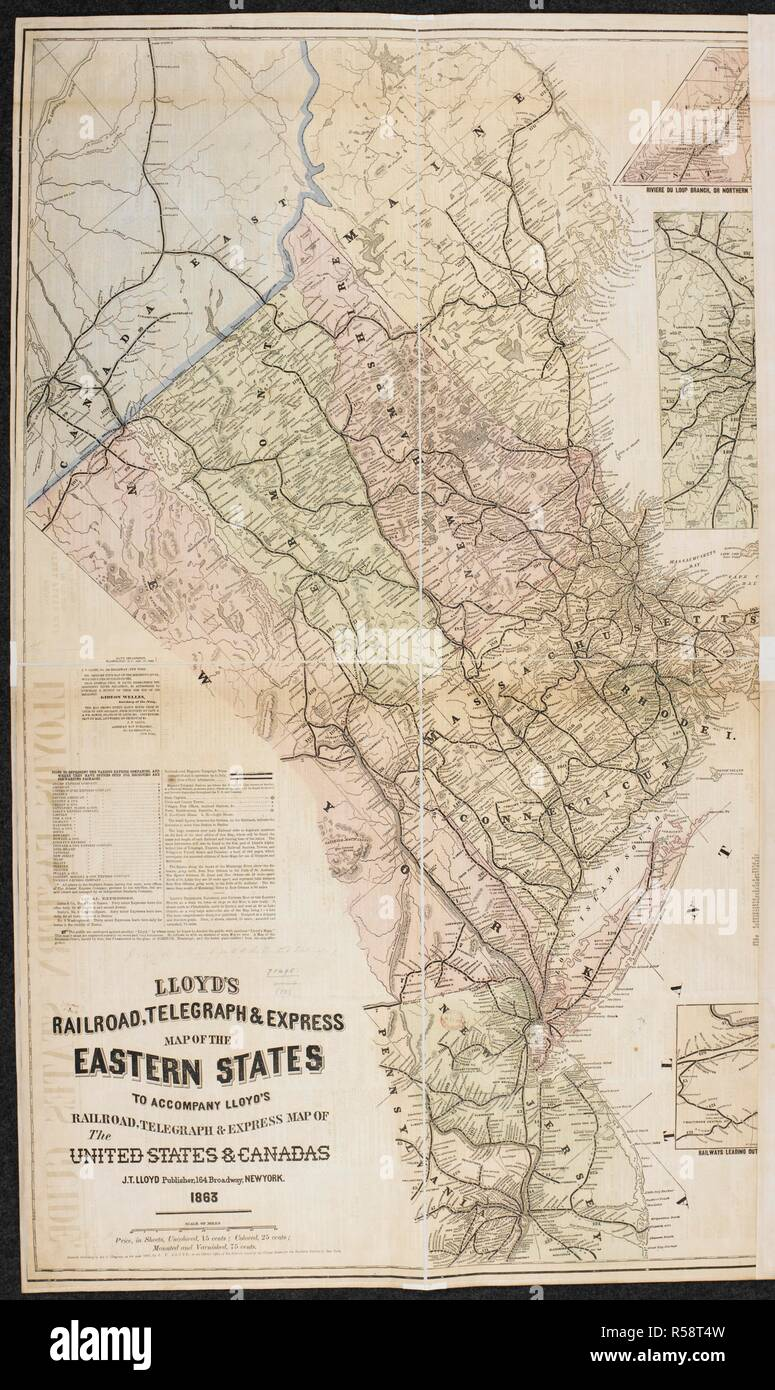 A Telegraph & Express Map of the Eastern States of North America ...