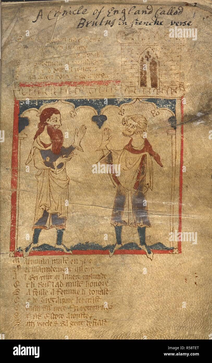 Maurice talks with Maximian. ROMANCES in French verse ... 14th century. Source: Egerton 3028 f.1. Author: Wace, Canon of Bayeux. Stock Photo