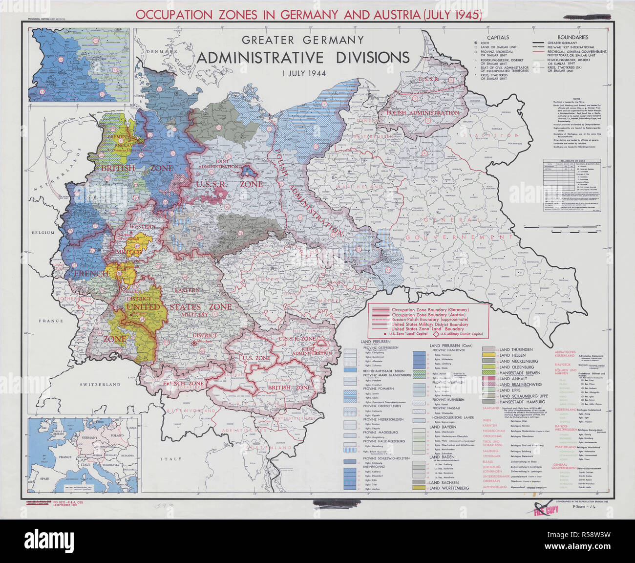 Map Of Germany Occupation Zones.July 1945 World War Ii Maps And Charts Map Showing Occupation