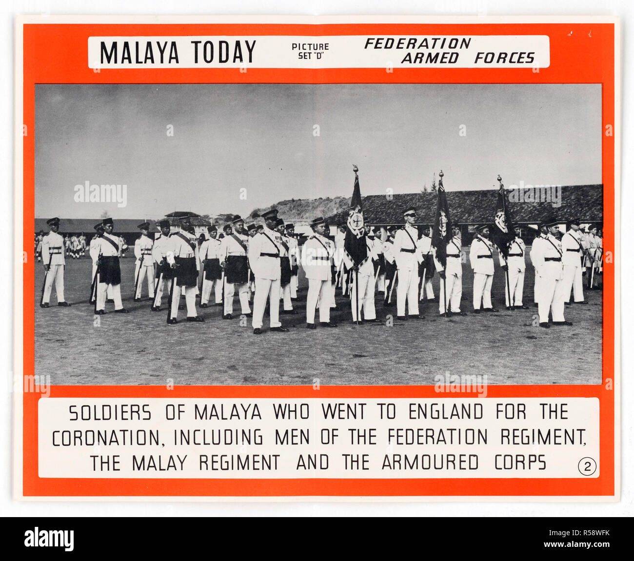 Malaysia History - Malay soldiers who went to England for the coronation of Queen Elizabeth II , including men of the Federated Regiment. - Stock Image