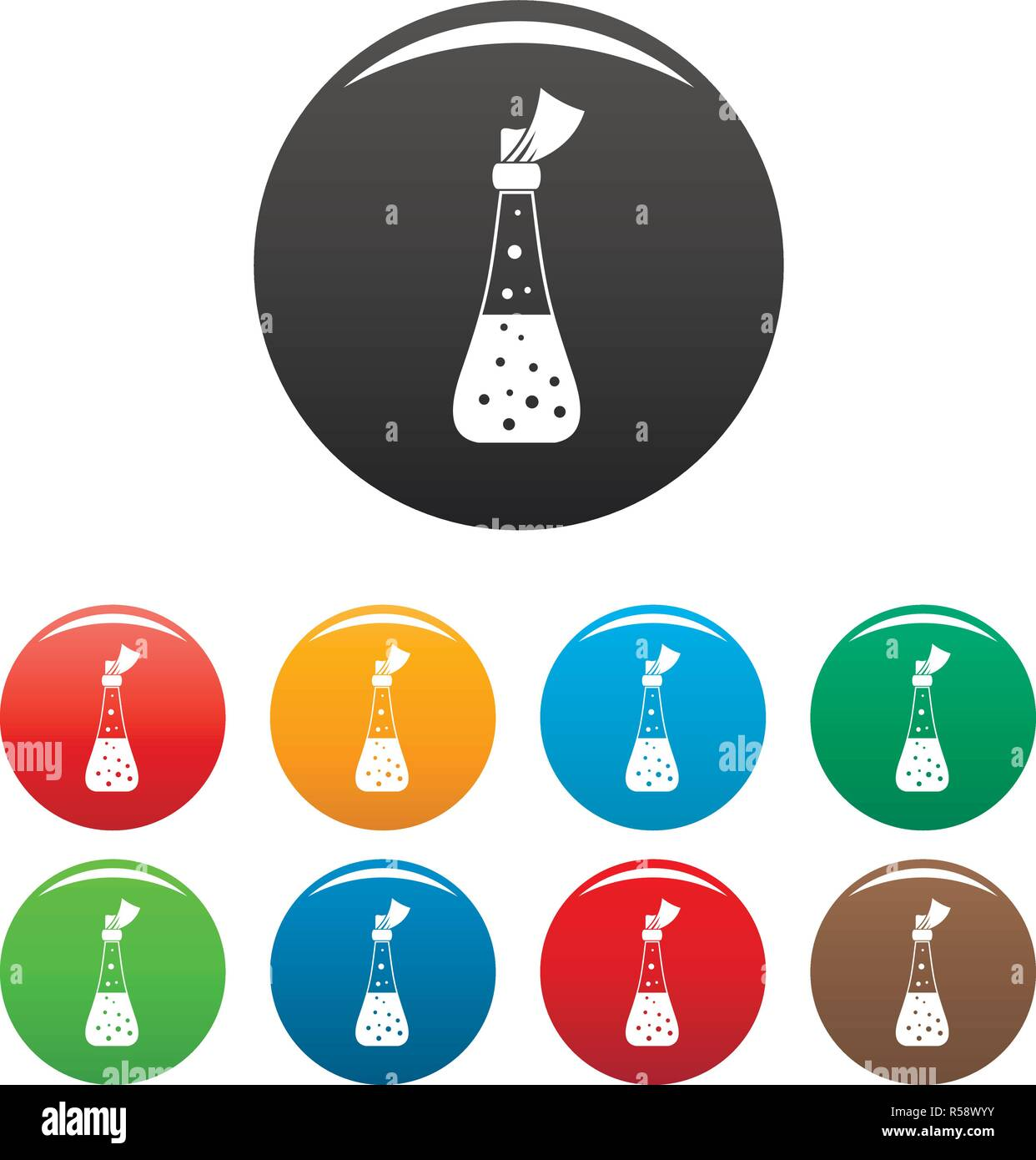 Alchemy potion icons set 9 color vector isolated on white for any design - Stock Image