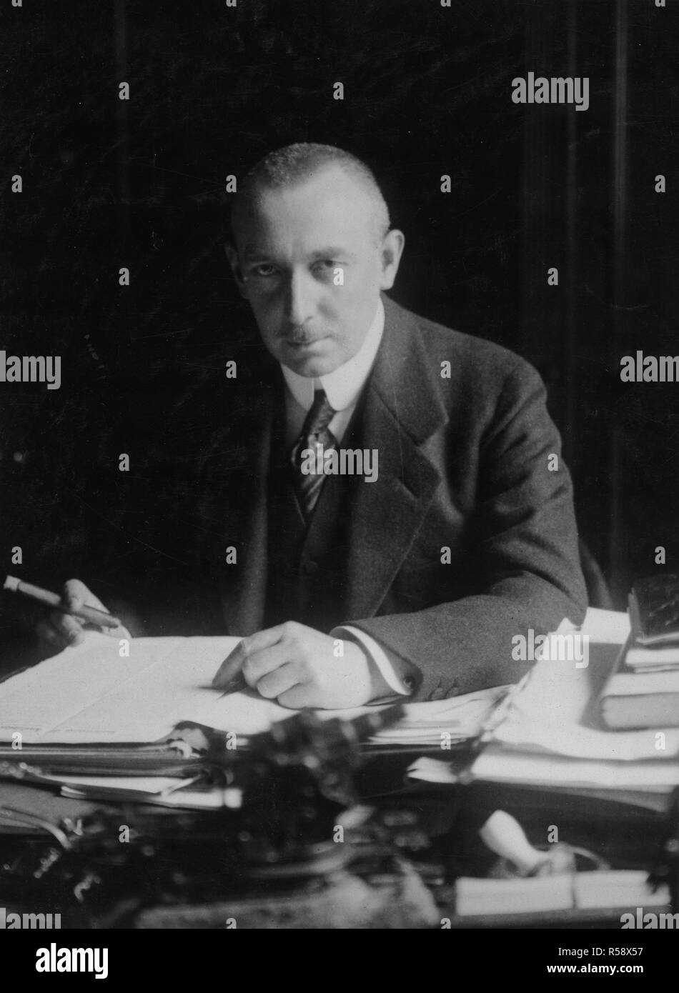 1918 - Arrest of Alien Enemies in U.S.A. - Helferich, the German Secretary of the Treasury. He was a most ardent believer in propaganda and did a great deal to give important to this department of German work. - Stock Image